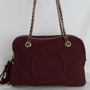 Gucci Bags - New GUCCI 353126 Soho Nubuck Burgundy Shoulder bag